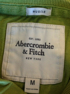 Abercrombie & Fitch Tee Men's Medium Green Stitched Spell Out Crew Neck T Shirt