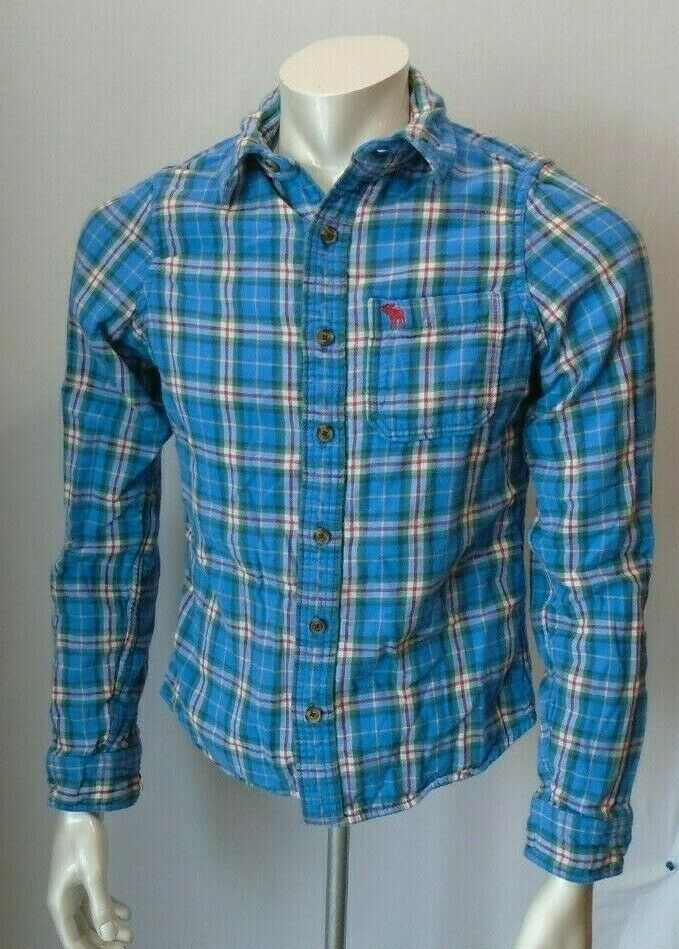 Abercrombie & Fitch Size S Flannel Blue Red Plaid Men's Logo Button Up Shirt