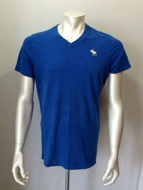 Abercrombie & Fitch Tee Men's Large V Neck Blue Cotton Muscle Moose Logo T Shirt
