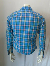 Load image into Gallery viewer, Abercrombie & Fitch Size S Flannel Blue Red Plaid Men's Logo Button Up Shirt
