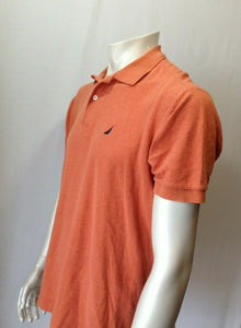 Nautica Men's Medium Orange 100% Pima Cotton Cuffed Short Sleeve Polo Shirt