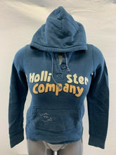 Load image into Gallery viewer, Hollister Hoodie Women' Small Blue Henley Hooded Long Sleeve Pullover Sweatshirt