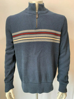 Eddie Bauer 100% Cotton Mens XLT Sweater Blue 1/4 Zip