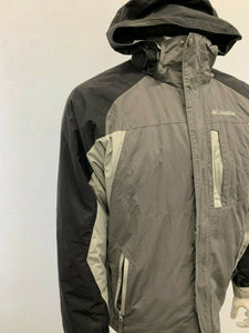 Columbia Men's Medium Two Tone Gray & Black w/ Detachable Hooded Nylon Full Zip