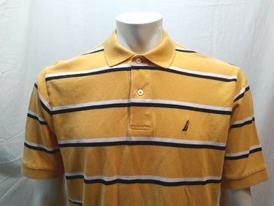Nautica Yellow Blue Striped Short Sleeve Men's Pique Polo Shirt Size Large