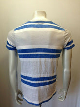 Load image into Gallery viewer, Hollister Tee Men's Small Blue Gray Striped V Neck Cotton Short Sleeve T Shirt
