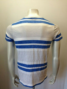 Hollister Tee Men's Small Blue Gray Striped V Neck Cotton Short Sleeve T Shirt