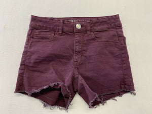 American Eagle Shorts Women's 2 Burgundy Super Super Stretch High Rise Shortie