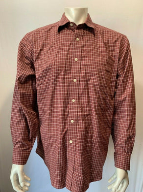 Eddie Bauer Mens TXL Brick Red Checked Button Front Shirt Long sleeve