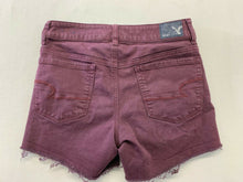 Load image into Gallery viewer, American Eagle Shorts Women's 2 Burgundy Super Super Stretch High Rise Shortie