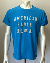 Load image into Gallery viewer, American Eagle Men's Large Active Flex Blue Stitched Spell Out Crew Neck T Shirt