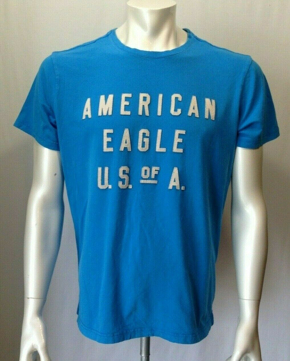 American Eagle Men's Large Active Flex Blue Stitched Spell Out Crew Neck T Shirt