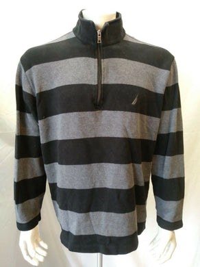 Nautica Black Gray Striped Long Sleeve 1/4 Zip Mock Men's Pullover Size XL