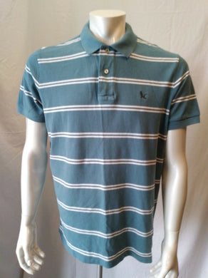 Eddie Bauer Men's Large Blue White Striped Short Sleeve Pique Polo Shirt