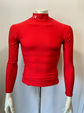 Under Armour Mens Small Compression Fit Mock Turtleneck Long Sleeve Shirt red