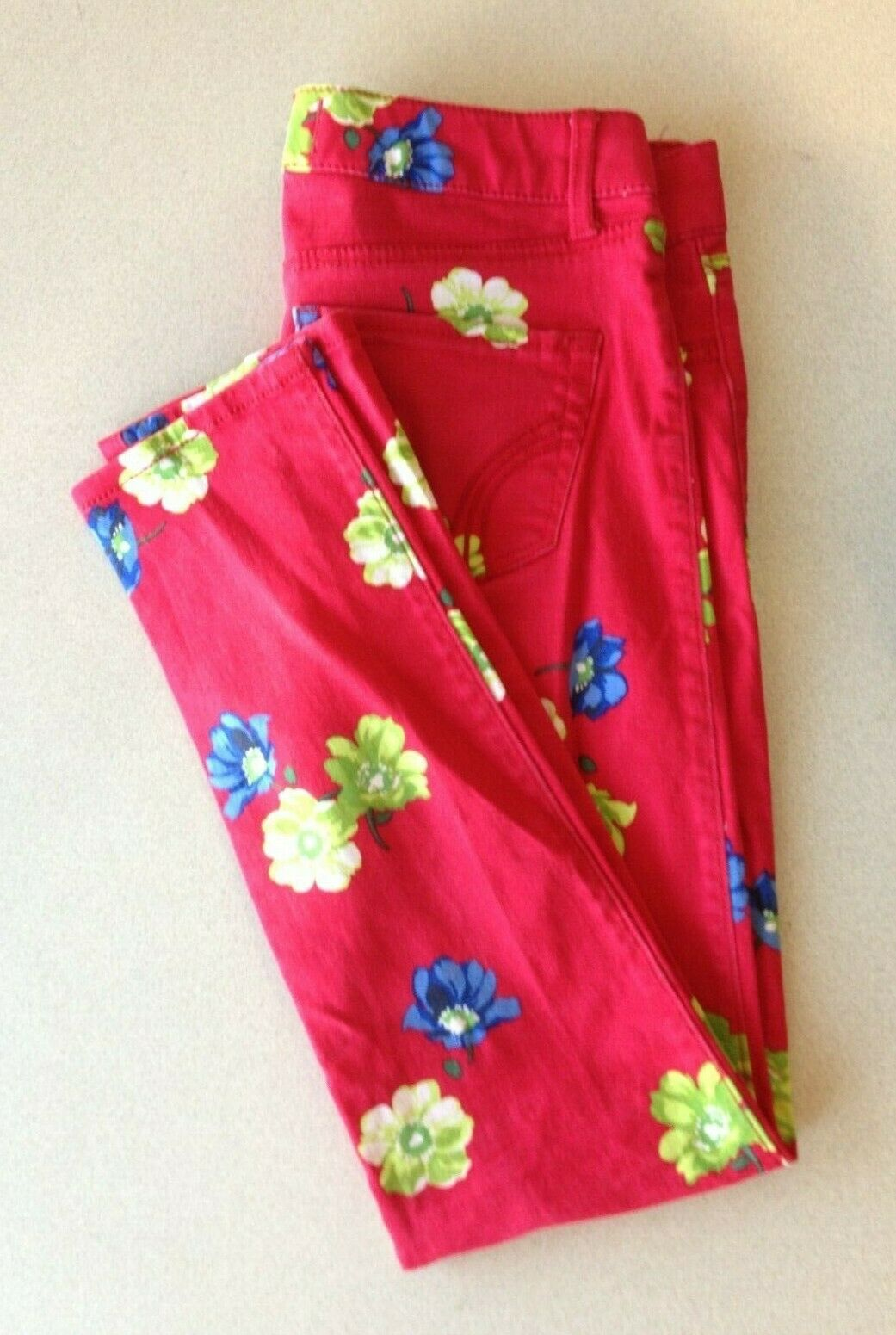 Hollister Women's Size 1 Red Floral Skinny Leg Low Rise Stretch Pocket Jeans