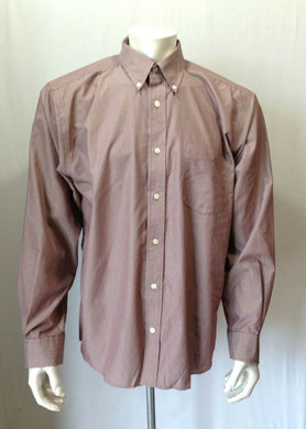 Eddie Bauer Men's L Button Front Long Sleeve Shirt Fine Stripe Red Casual Shirt