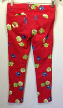 Load image into Gallery viewer, Hollister Women's Size 1 Red Floral Skinny Leg Low Rise Stretch Pocket Jeans