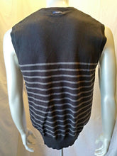 Load image into Gallery viewer, Nautica Men's Black With Gray Stripes V Neck Sleeveless Sweater Vest Size Medium