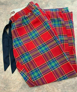 Hollister Red Plaid Sleep Lounge Pants Women's Medium Pajama Pants Drawstring