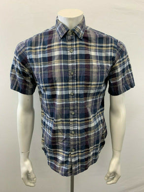 Eddie Bauer Men's Small shirt Classic Fit Blue Plaid Short Sleeve Button Down