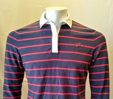 Nautica Men's Blue Red Striped Long Sleeve Polo Shirt Elbow Patches