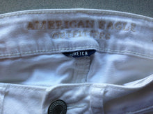 Load image into Gallery viewer, American Eagle Womens Size 00 Low Rise Stretch Distressed White Cut Off Shorties