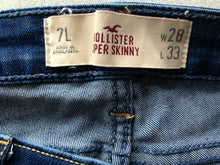 Load image into Gallery viewer, Hollister Women's Size 1 Low Rise Skinny Leg Stretch Zipper Fly Denim Blue Jeans
