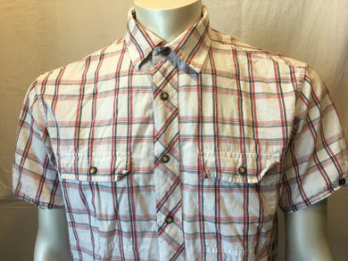 Nautica Men's Blue Red Plaid Pearl Snaps Short Sleeve Shirt Size Large
