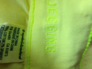 American Eagle Women's 2 Neon Yellow Stretch Cotton Blend Zipper Fly Jeggings