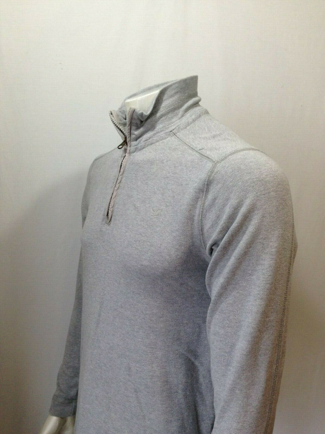 American Eagle Men's XS Gray Long Sleeve Quarter Zip Mock Neck Ribbed Shirt