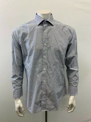 Nautica Button Up Shirt Men's Large Blue White Striped Long Sleeve Cotton