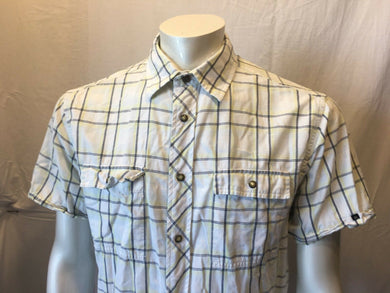 Nautica Men's Blue Yellow Plaid Pearl Snaps Short Sleeve Shirt Size Large