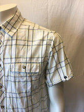 Load image into Gallery viewer, Nautica Men's Blue Yellow Plaid Pearl Snaps Short Sleeve Shirt Size Large