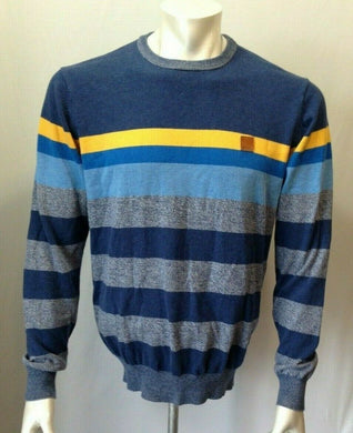 Bench Men's Blue Yellow Striped Long Sleeve Size Large Crew Neck Sweater