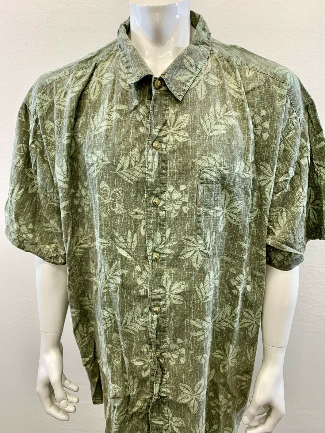 Columbia Mens 4XB Cotton Floral Hawaiian Short Sleeve Button Up Aloha Camp Shirt