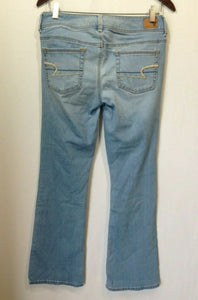 American Eagle Womens Size 8 Low Rise Sandblasted Whiskered Stretch Denim Jeans