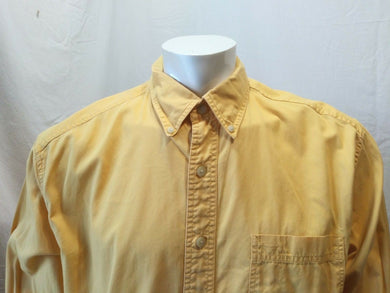 Eddie Bauer Men's Cotton Button Front Long Sleeve Yellow Shirt Size Large Tall