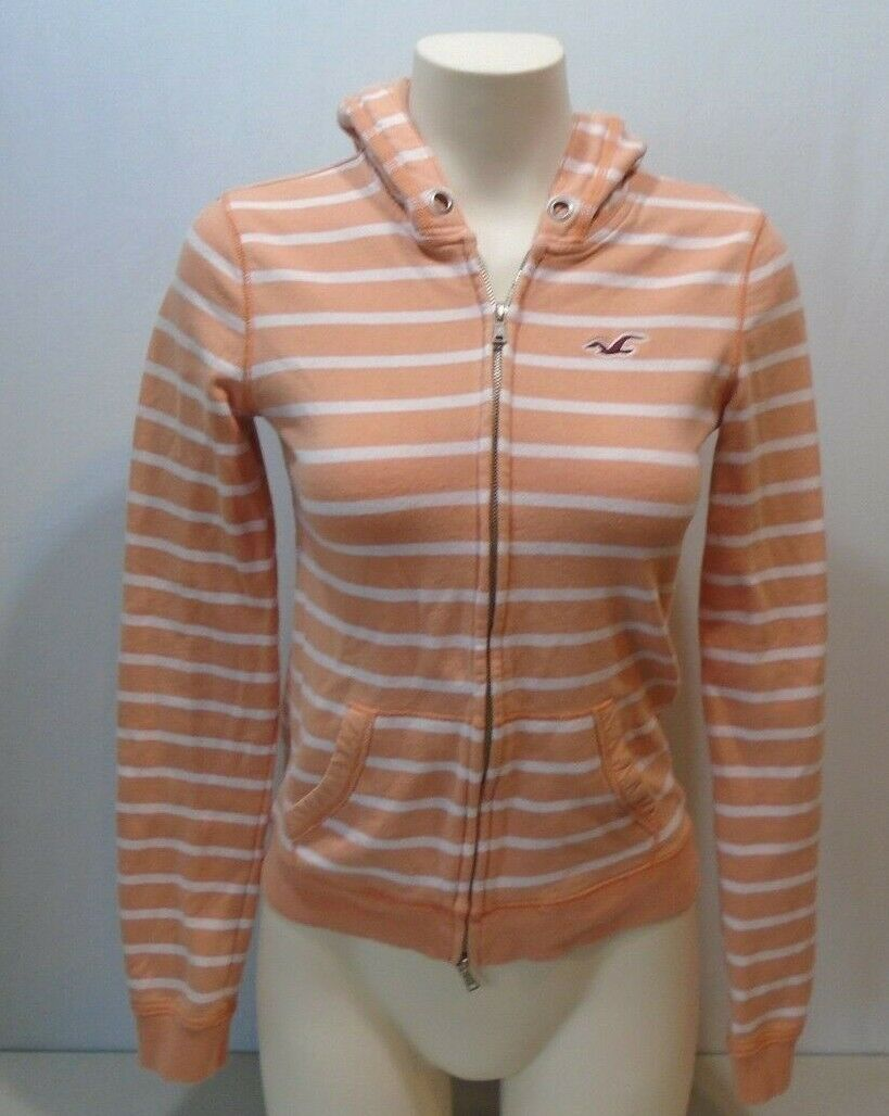 Hollister Womens L/S Orange White Striped Full Zip Hooded Sweatshirt Hoodie Sz S