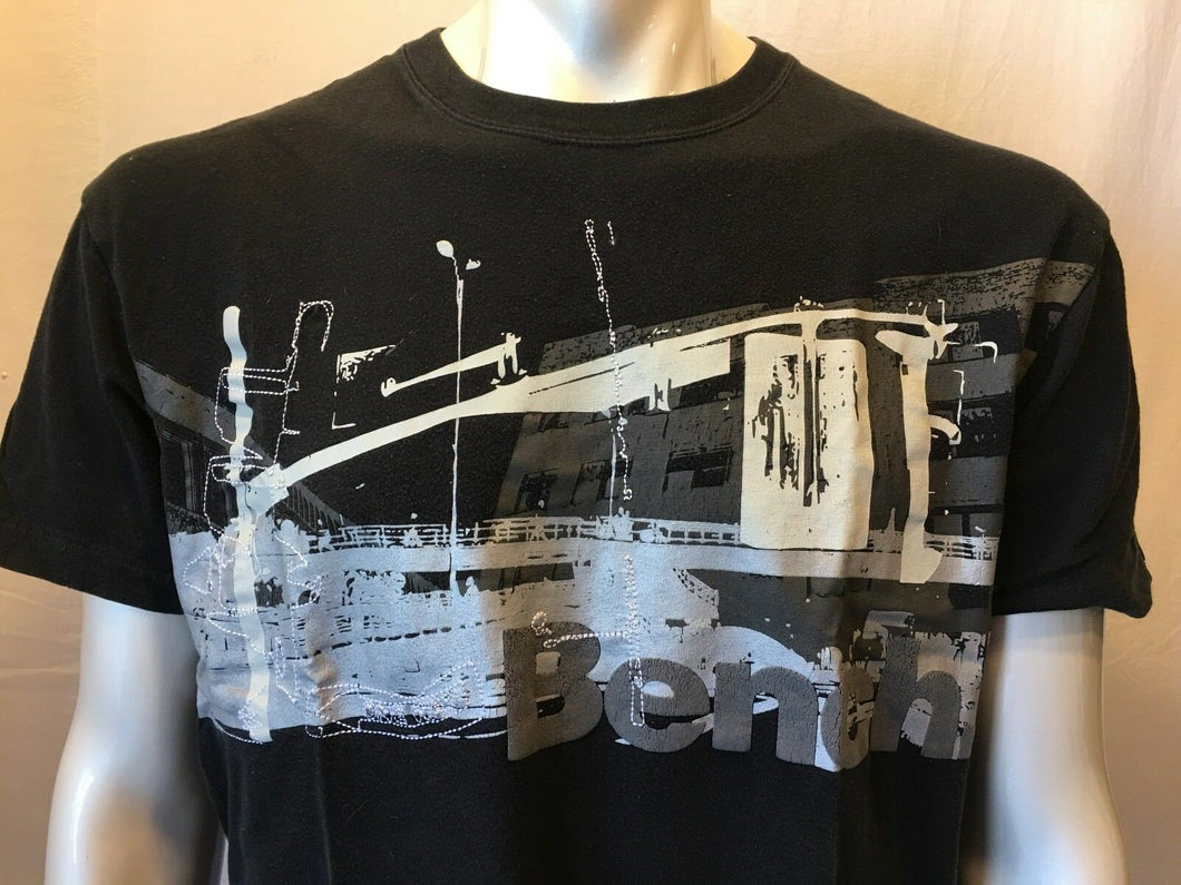 Bench Men's Black Graphic Short Sleeve Logo T-Shirt Size Large