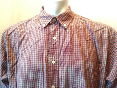 Eddie Bauer Red Plaid Long Sleeve Button Down Cotton Men's Casual Shirt Size XL