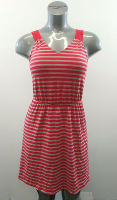 GUESS JEANS Women's Small Gray Red Striped V Neck Sleeveless Summer Dress