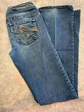 Load image into Gallery viewer, Silver Western Glove Works Jeans Womens 26 Denim Blue Toni