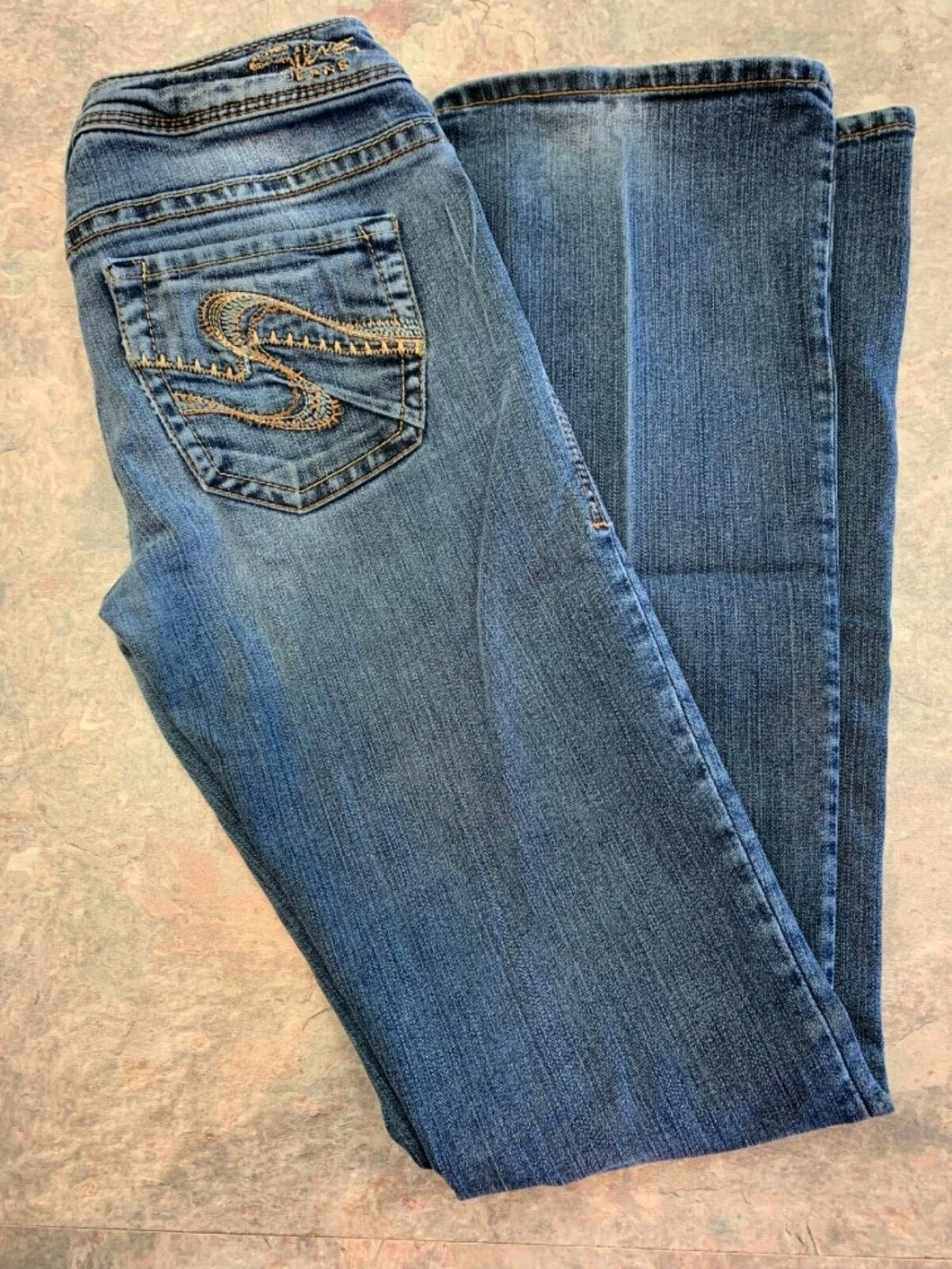 Silver Western Glove Works Jeans Womens 26 Denim Blue Toni