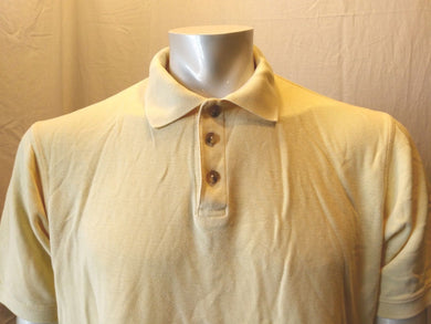 Eddie Bauer Yellow Cuffed Short Sleeve Cotton Men's Pique Polo Shirt Size Medium
