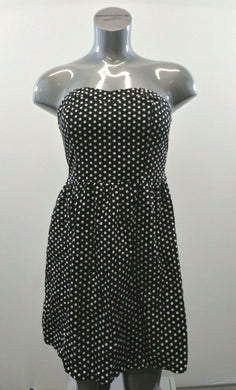UK2LA Women's Size Medium Black White Polka Dot Cotton Strapless Dress