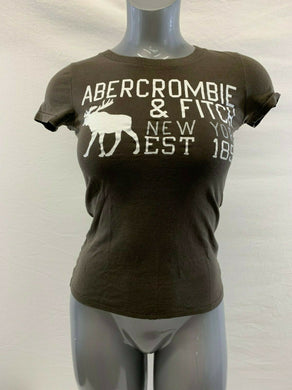 Abercrombie & Fitch Women's Small Brown Spell Out Short Sleeve Crew Neck T Shirt