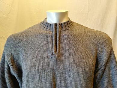 Eddie Bauer Gray Long Sleeve Men's Cotton 1/4 Pullover Knit Sweater Size XL