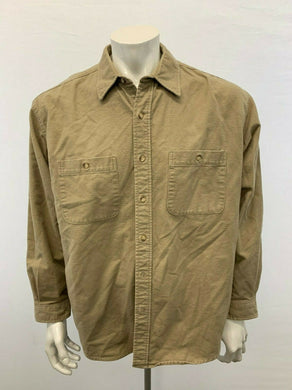 Eddie Bauer Button Up Shirt Men's Large Beige Long Sleeve Cotton Flannel