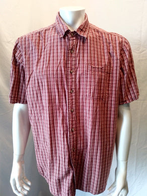 Eddie Bauer Maroon Red Plaid Men's Short Sleeve Button Down Pocket Shirt Size XL